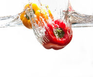 Yellow and red pepper falling into water Royalty Free Stock Image