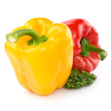 Yellow And Red Peppers. Decorated with greenery stock photos