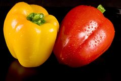 Yellow and red peppers Stock Photo