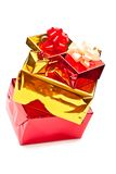Yellow and red presents Stock Image