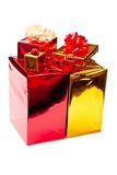 Yellow and red presents Stock Photos