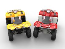 Yellow and red quad bikes - top view Royalty Free Stock Images