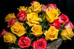 Yellow red rose bouquet Stock Images