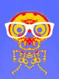 Yellow and red skull and bone with glasses. And purple background Stock Photography