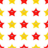 Yellow Red Smiling Star Seamless Pattern Royalty Free Stock Photo