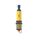 Yellow and red spark-plug icon with lightning sign Stock Photo