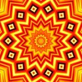 Yellow-red star kaleidoscope background vector illustration