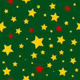 Yellow Red Stars Green Christmas Background. Royalty Free Stock Photo