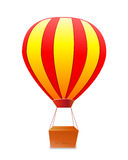 Yellow red striped aerostat with box Royalty Free Stock Photos