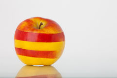 Yellow red striped apple royalty free stock photo