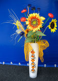 Yellow and red sunflower decor in a vase Stock Images