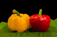 Yellow and red sweet pepper low poly Royalty Free Stock Image
