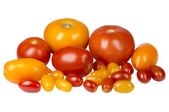 Yellow and red tomatoes of different varieties Royalty Free Stock Photo