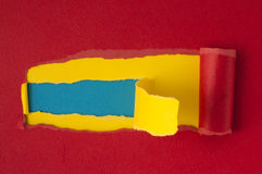 Yellow and Red torn paper with blue space for text Royalty Free Stock Photos