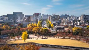Yellow and red trees lining up Himeji Castle and City in autumn. Himeji Castle, Hyogo Prefecture, Japan -November 8, 2018: View of Himeji Skyline from the top of stock photography