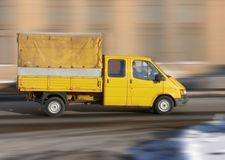 Yellow red truck (lorry). A yellow rescue service truck (lorry Stock Photo