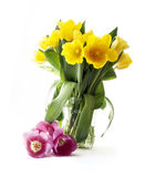 Yellow and red tulips bouquet Stock Photos