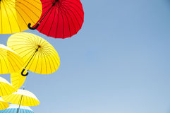 Yellow and red umbrellas. Stock Photography