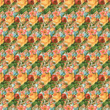 Yellow and red vintage rose flower wallpaper background repeat Royalty Free Stock Image