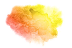 Yellow-red water color stain Stock Photo