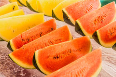 Yellow and red watermelon Stock Photography
