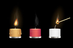 Yellow red and white aroma candles burning with matchstick Stock Image