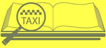 Book with magnifier and taxi symbol Stock Photo