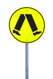 Yellow Reflective Pedestrian Crossing Sign. Current Australian Road Sign. Isolated on White Royalty Free Stock Images