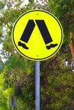 Yellow Reflective Pedestrian Crossing Sign. Current Australian Road Sign Royalty Free Stock Photo