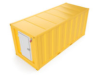 Yellow refrigerated container isolated on white. 3d rendering Stock Image