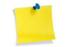 Yellow remainder note. On white background, with red pin Stock Images