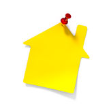 Yellow reminder note. With red pin - 3d render Royalty Free Stock Photo