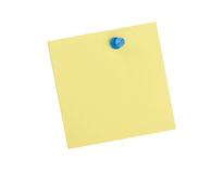 Yellow  reminder note with blue pin Royalty Free Stock Images