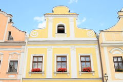 Yellow renaissance house in Telc Royalty Free Stock Photo