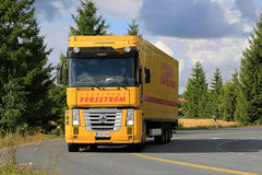 Yellow Renault Magnum Semi Truck on the Road Royalty Free Stock Photo