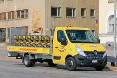 Yellow Renault Master Flatbed Van Hauls City Bikes Stock Photography