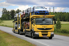 Yellow Renault Premium Car Carrier Transports New Vehicles Stock Image