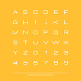 Yellow rep. Set of stylish alphabet letters and numbers. vector, linear font type. thin line typeface design. contemporary, hand drawn typesetting vector illustration