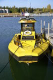 Yellow rescue boat Stock Photo