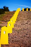 Yellow restrictive posts in Madeira. Mountains Royalty Free Stock Photos