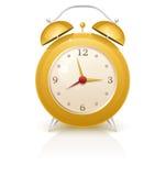 Yellow retro alarm clock. Illustration of a yellow retro alarm clock Royalty Free Stock Photography