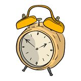 Yellow retro alarm clock vector illustration sketch doodle hand. Drawn with black lines isolated on white background Royalty Free Stock Photos