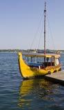Yellow retro boat Stock Images