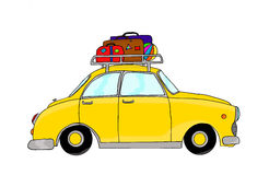 Yellow retro car with luggage. Hand drawn, digitally colored Stock Photo