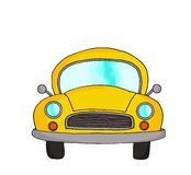 Yellow retro cartoon car Royalty Free Stock Photos