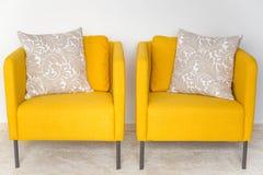 Yellow retro chairs Stock Photography