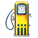 Yellow retro gasoline pump in the old gasoline station. Isolation of old yellow petrol gasoline pump with 25c gas on dials Royalty Free Illustration