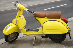 Yellow Retro Motorcycle. Outdoor, Spain Stock Photos