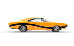 Yellow retro muscle car with black stripe Stock Image