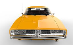 Yellow retro muscle car. Closeup on the hood of the car Stock Photo